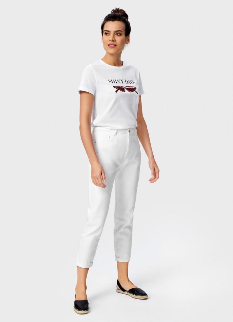 Белые джинсы с высокой посадкой