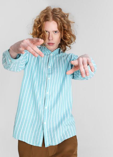 Рубашка из жатого хлопка в полоску