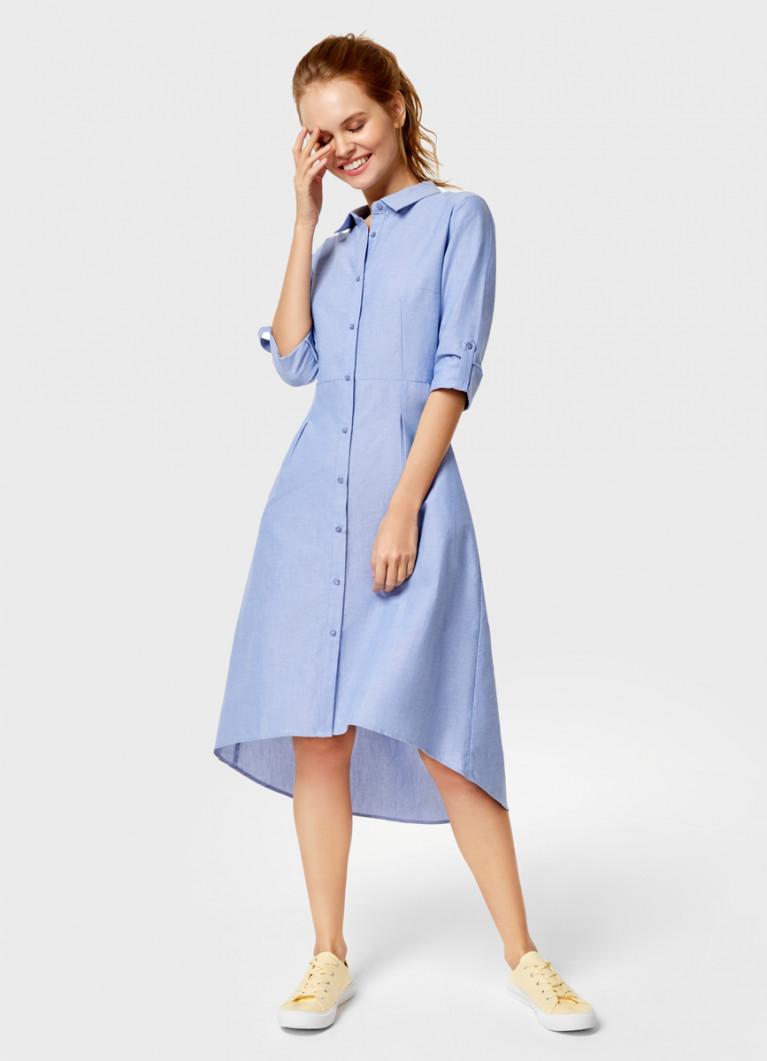 Хлопковое платье-рубашка