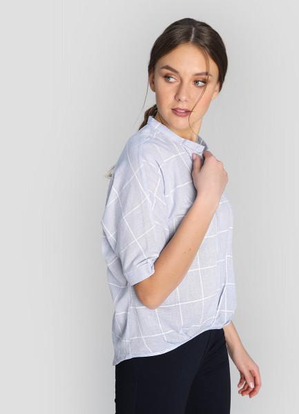Хлопковая блузка в клетку с удлинённой спинкой фото