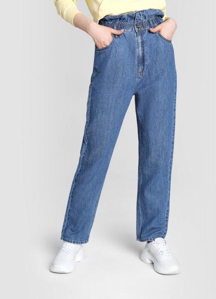 Льняные прямые джинсы с высокой посадкой фото
