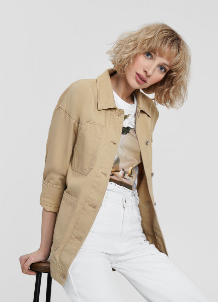 Хлопковая куртка с накладными карманами