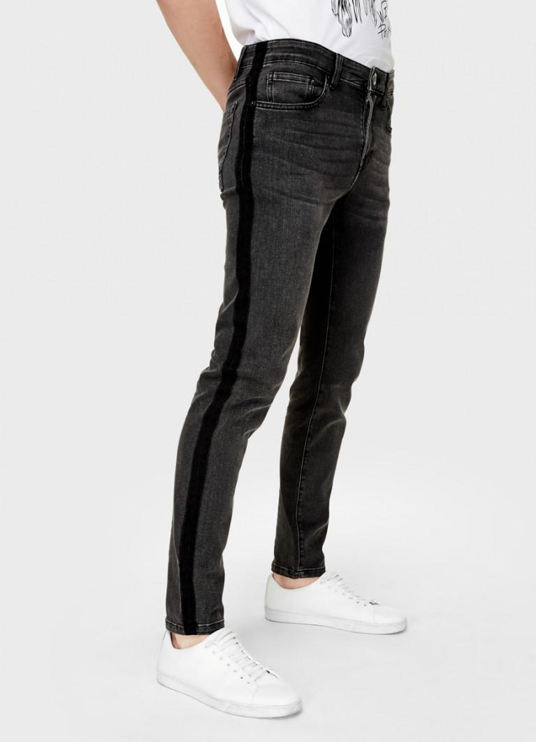 Чёрные суперузкие джинсы с лампасами