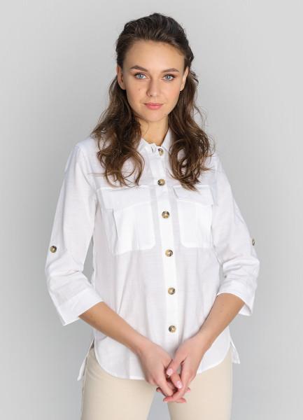 Рубашка с накладными карманами из структурной ткани фото