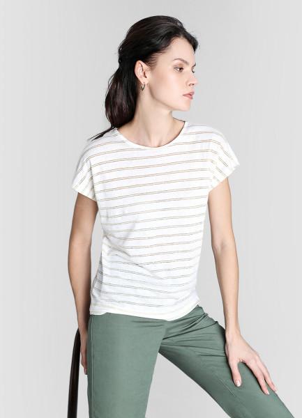 Льняная футболка с люрексом фото
