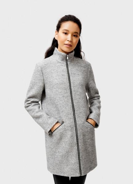 Пальто с воротником-стойкой и открытой молнией фото