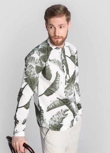 Рубашка из хлопка с тропическим принтом