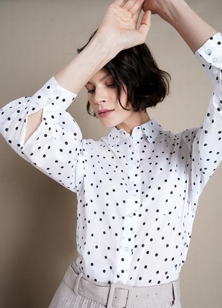 Принтованная блузка из хлопка-вуаль с объёмными рукавами