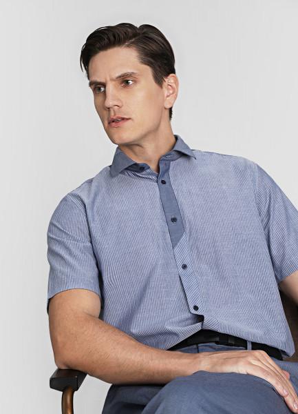 Рубашка в полоску со сложным воротником фото