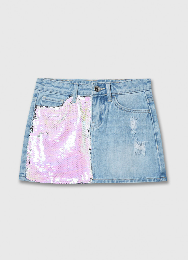 Джинсовая юбка с пайетками