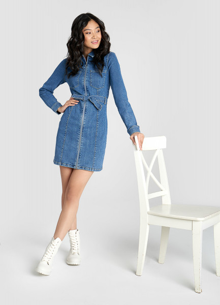 Денимное платье-рубашка