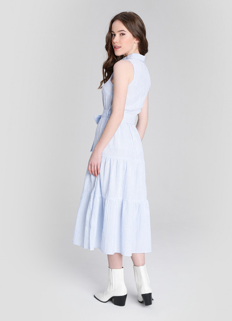 Платье-рубашка из жатой ткани