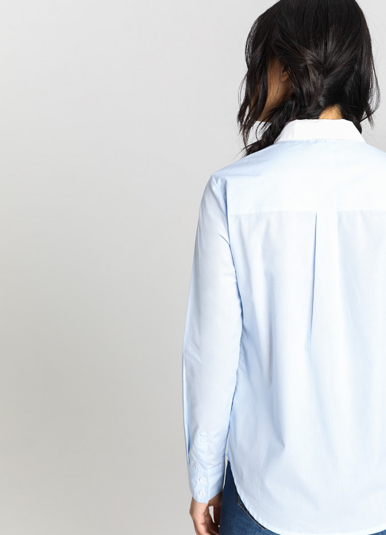 Хлопковая рубашка с контрастным воротником