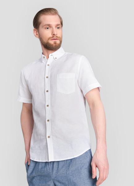 Рубашка из однотонного льна с хлопком
