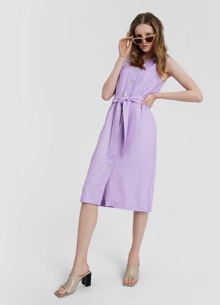 Платье изо льна с вискозой и перламутровыми пуговицами