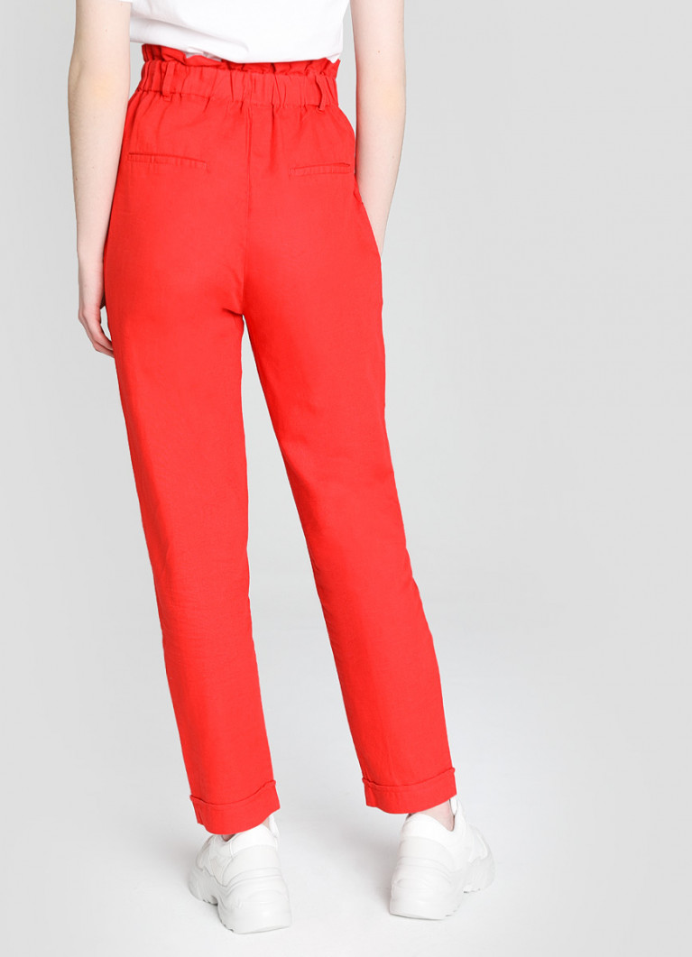 Льняные брюки Paperbag