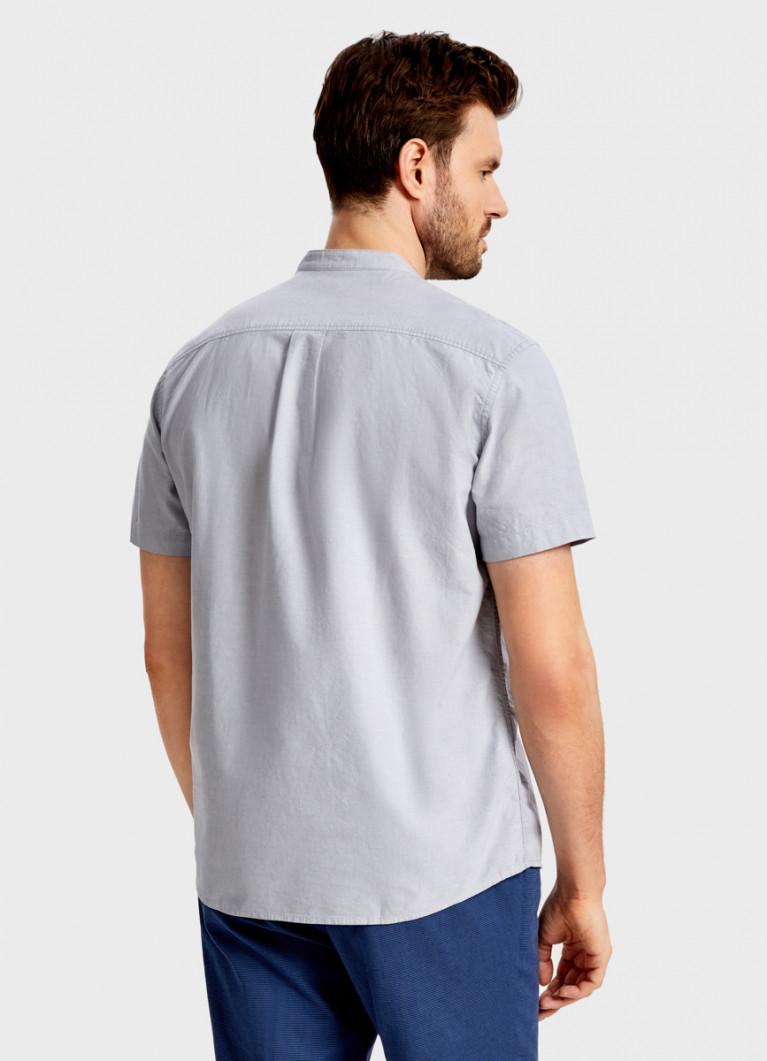 Рубашка с воротником-стойкой из хлопка
