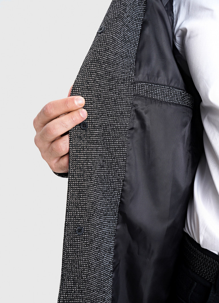 Пальто с воротником-стойкой из меланжевой ткани