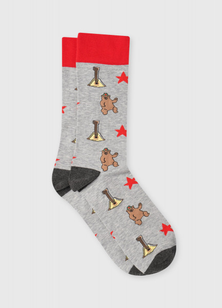 Носки с жаккардом «медведи»