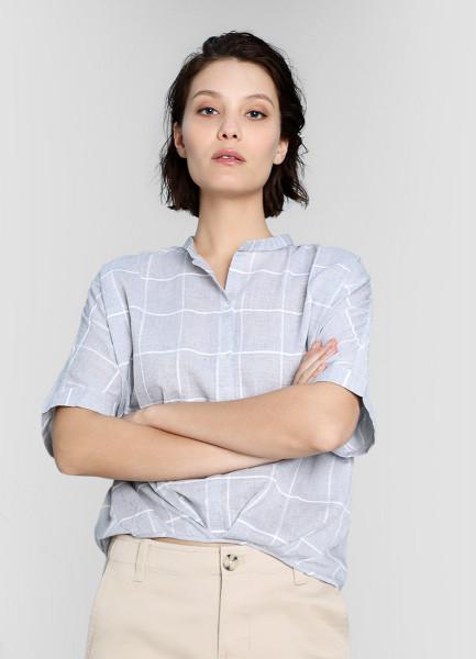 цена на Хлопковая блузка в клетку с удлинённой спинкой