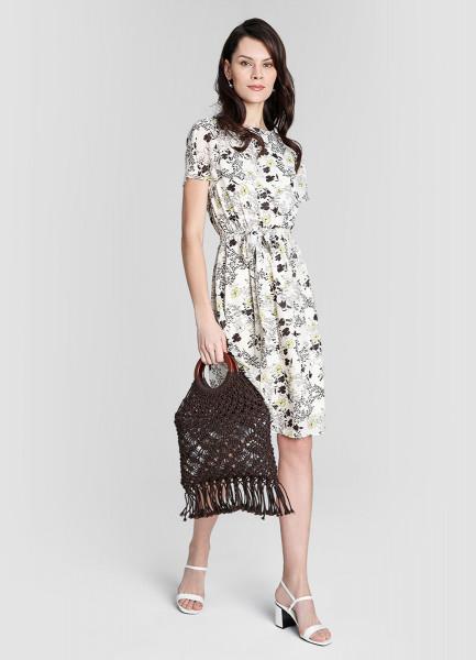 Платье А-силуэта из принтованного шифона фото