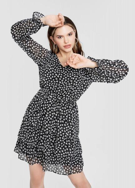 Платье из шифона с мелкоузорным принтом