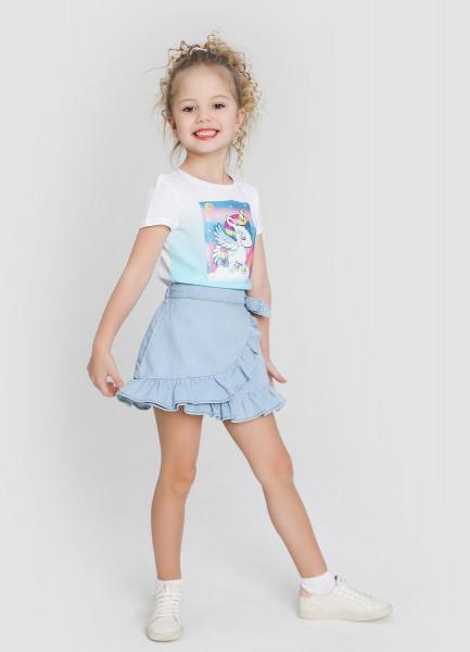 Джинсовая юбка с оборками фото