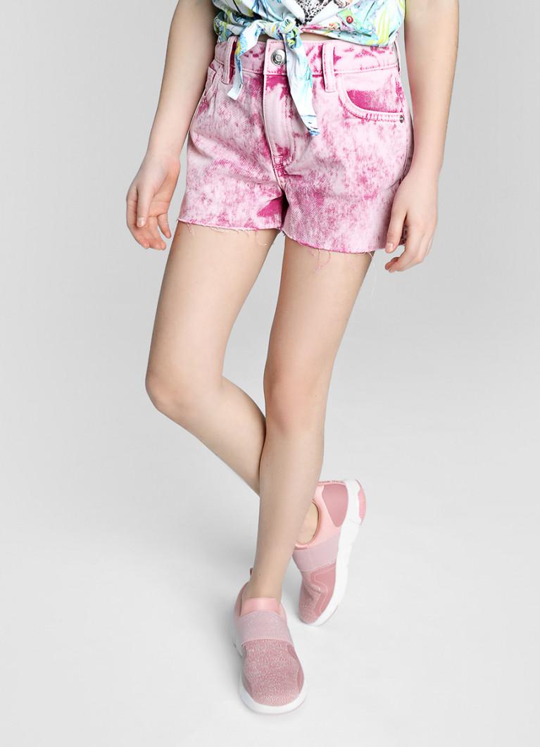 Розовые джинсовые шорты в стирке Acid