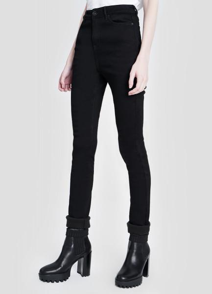 Утеплённые узкие джинсы с высокой посадкой