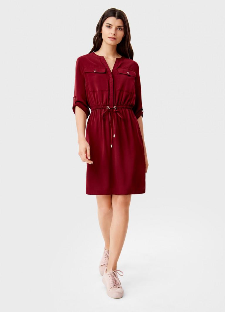 Платье-рубашка из блестящего сатина