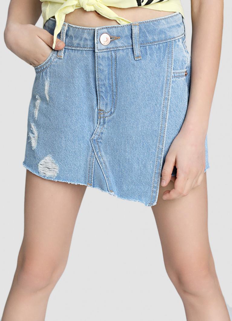 Джинсовая юбка-шорты