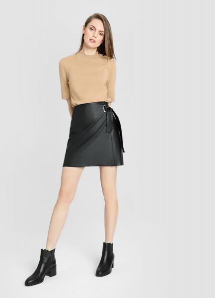 Кожаная юбка-карандаш фото