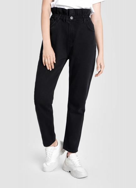 Прямые джинсы с высокой посадкой и эластичным поясом