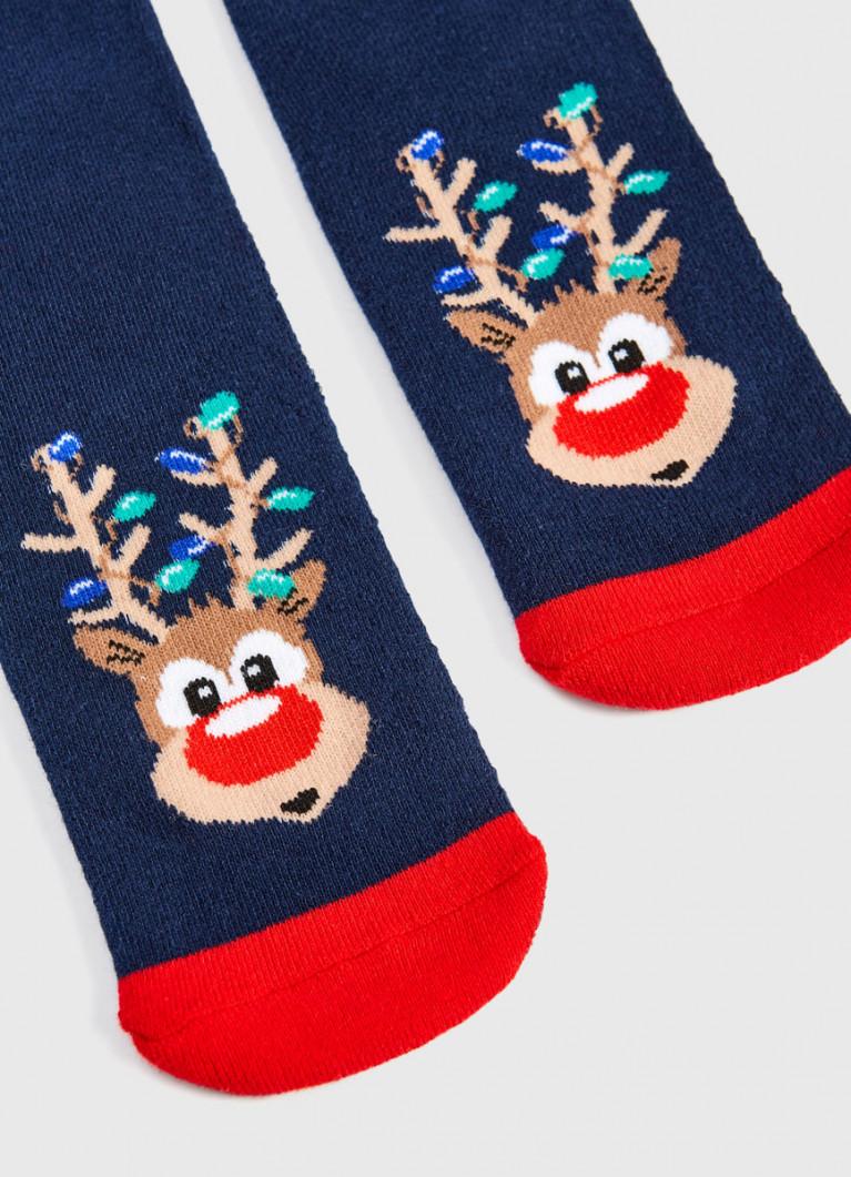 Махровые носки с жаккардом «олени»