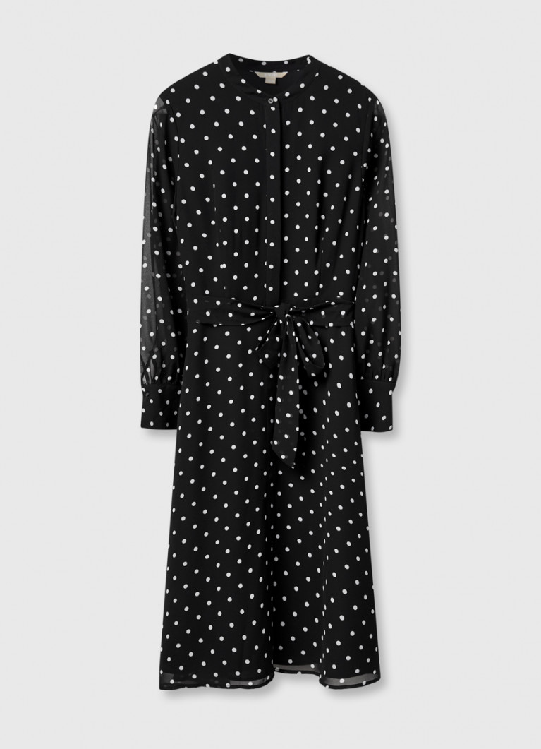 Платье из шифона в горох
