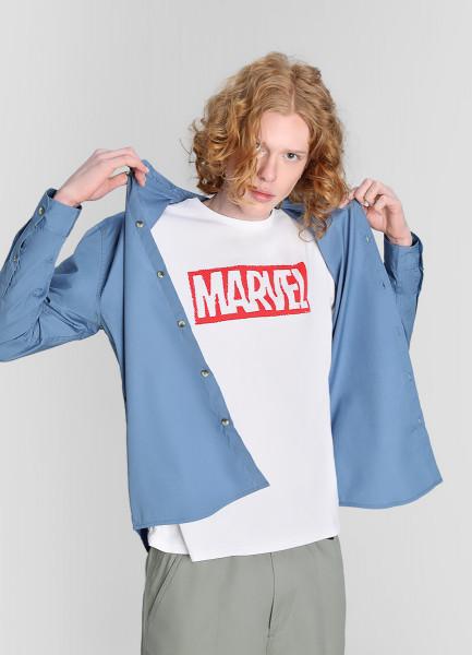 Хлопковая рубашка с воротником-мао