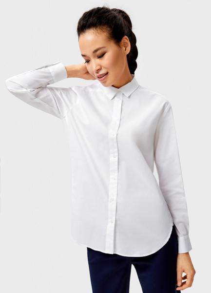 Белая рубашка с контрастными лампасами фото