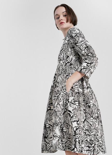 Платье с завышенной талией с принтом «листья»