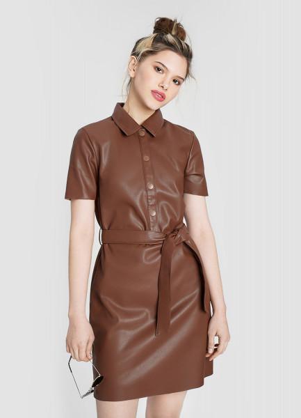 Кожаное платье-рубашка