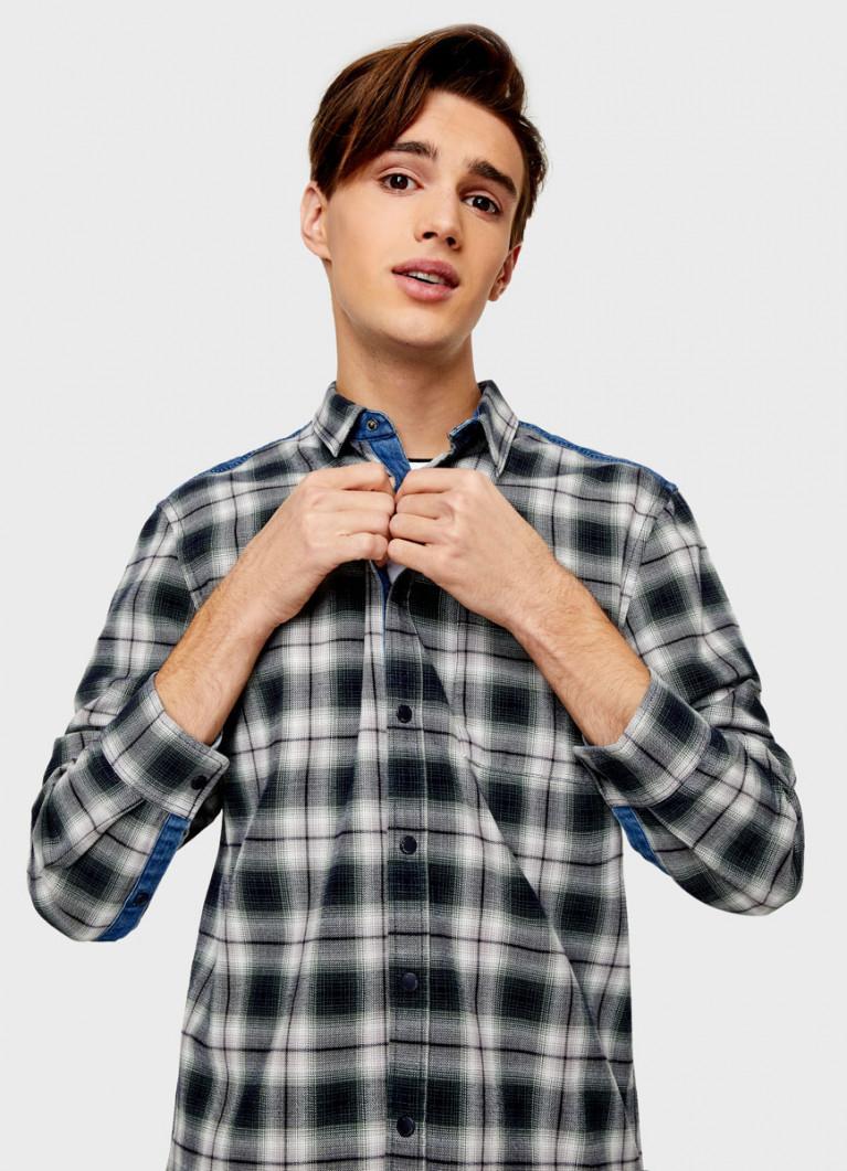 Рубашка с денимной спинкой
