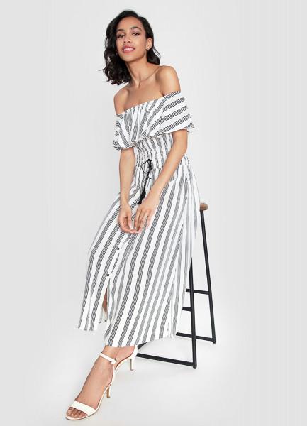 Платье с открытыми плечами из вискозы