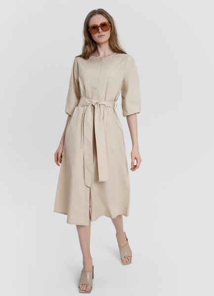 Объёмное платье А-силуэта из хлопка