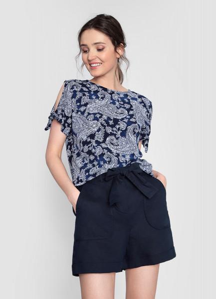Блузка из принтованной вискозы блузка lime блузка с завязками