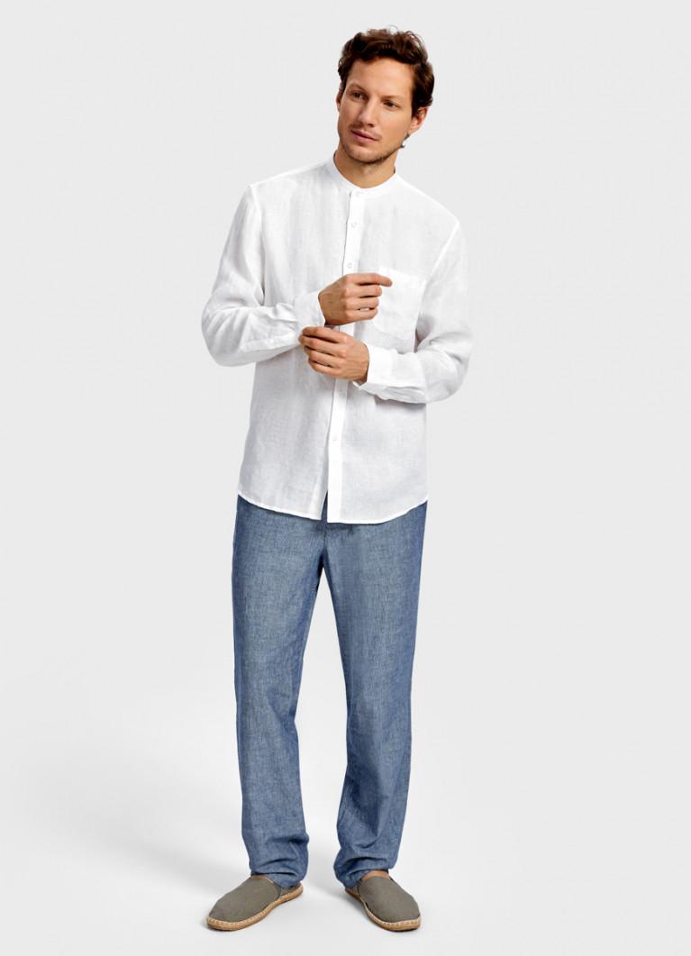 Рубашка изо льна в полоску
