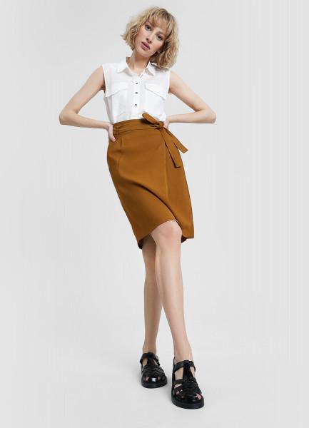 Прямая юбка с поясом