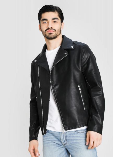 Куртка-байкер из искусственной кожи фото