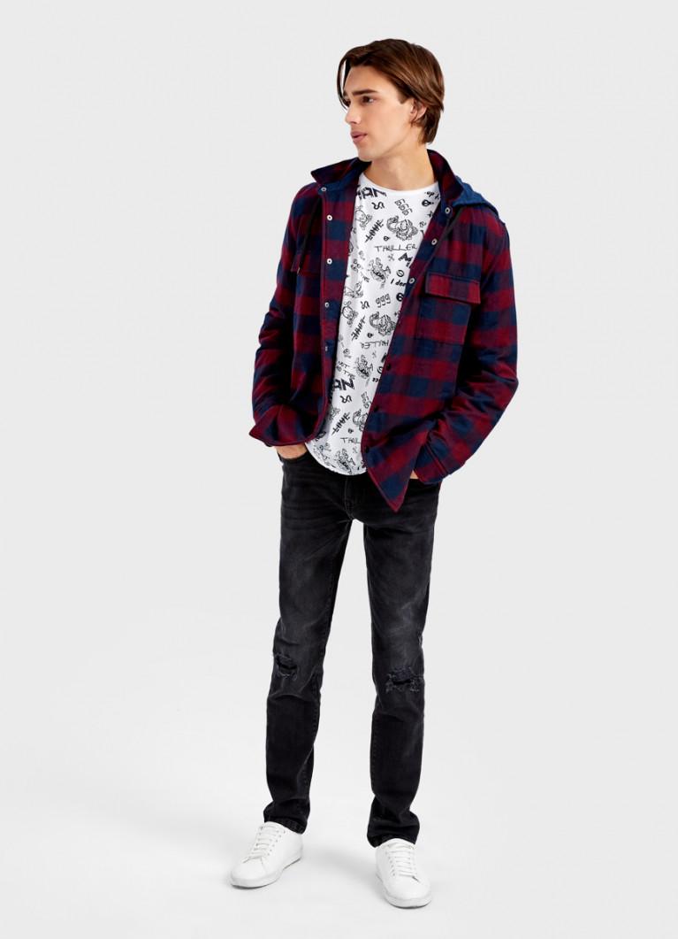 Утеплённая рубашка с капюшоном
