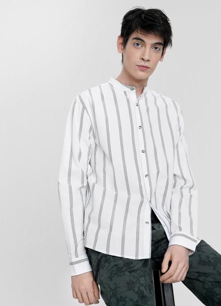 Рубашка в полоску с мао-воротником