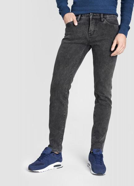 Зауженные чёрные утеплённые джинсы