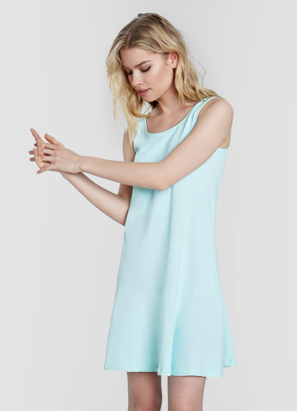 Трикотажное платье-сарафан с оборкой